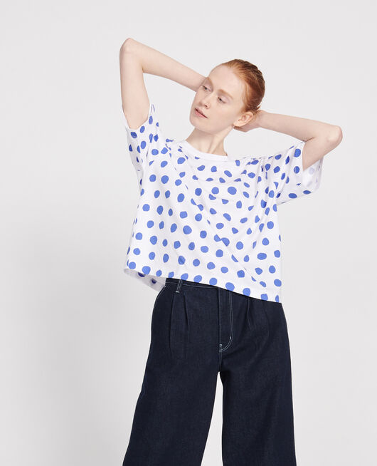 Gepunktetes Boxy T-Shirt aus Baumwolle DOTS AMPARO BLUE