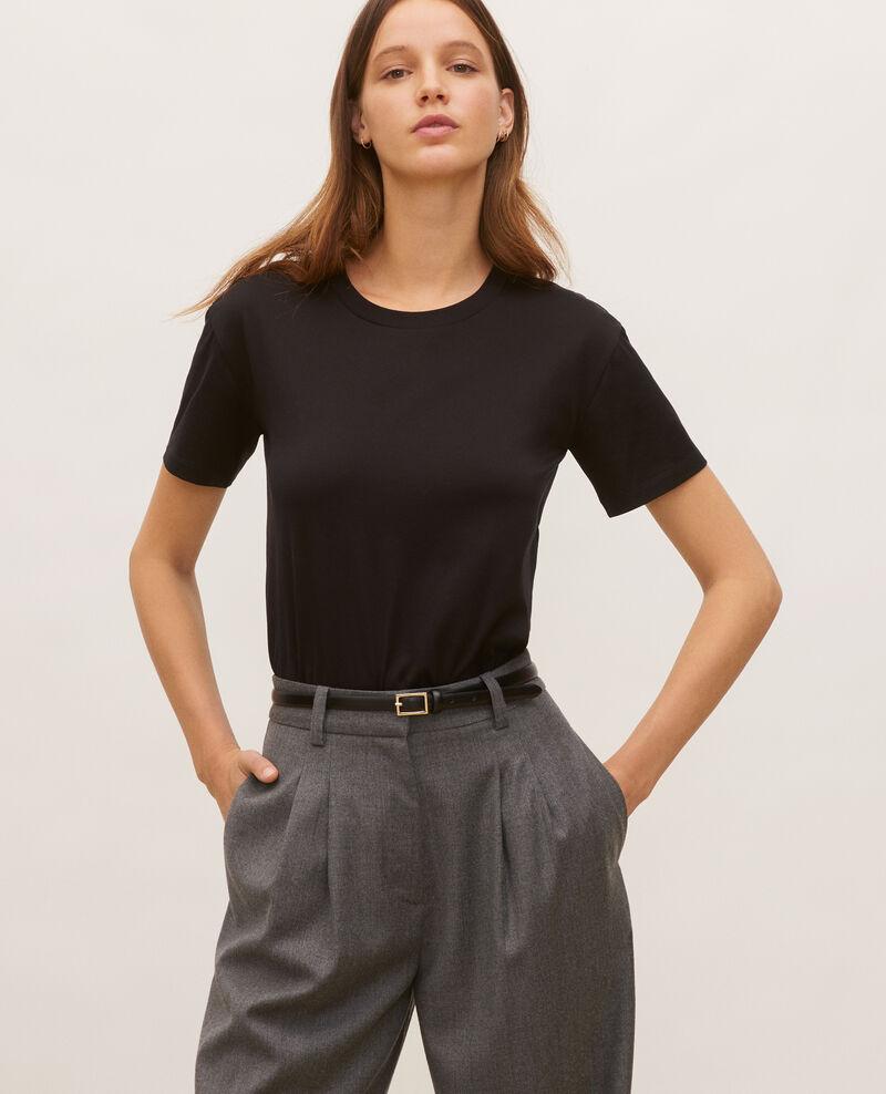 Kurzärmeliges T-Shirt aus Baumwolle mit Rundhalsausschnitt Black beauty Lirous