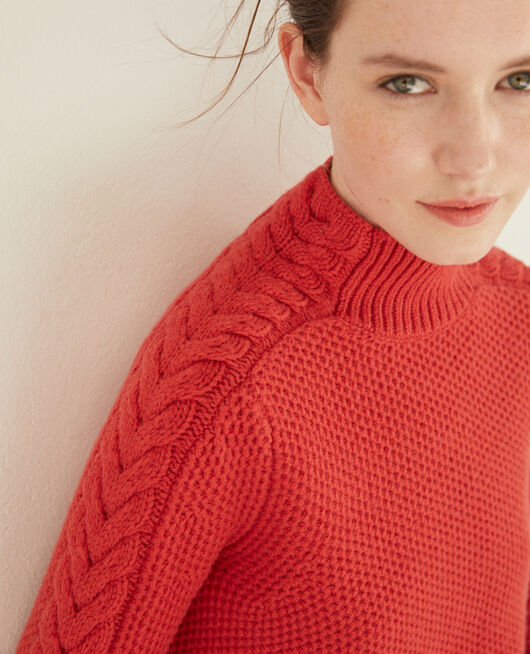 Pullover aus Wolle mit Flechtdetail Rot