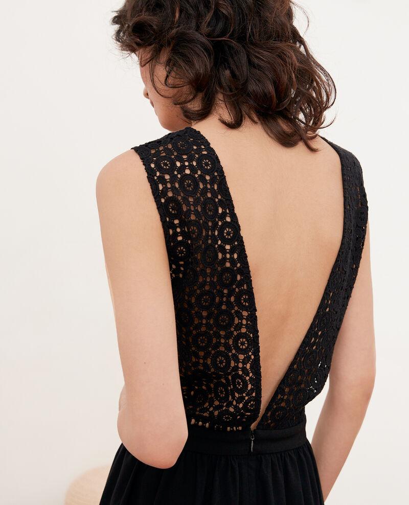 Kleid mit tiefem V-Ausschnitt im Rücken aus Spitze Noir Farseille