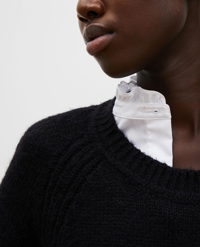 Weiter Wollpullover mit U-Boot-Ausschnitt Black beauty Mombrier