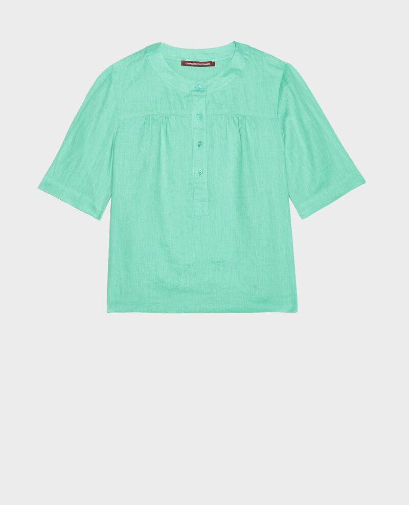 Bluse mit Polokragen aus Leinen Jade cream Lantoine