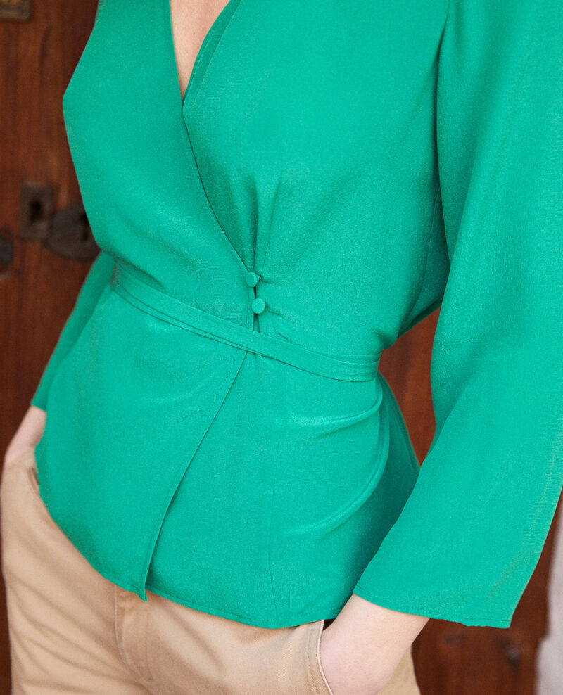 Wickelbluse aus Seide Green Itocoeur