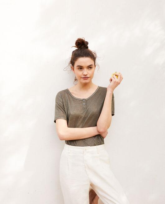 T-shirt effet brillant en lin MILITARY GREEN