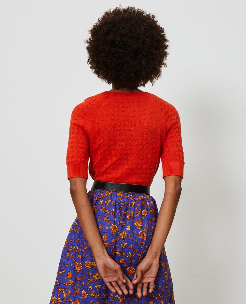 Kurzarm-Pullover aus Baumwolle und Leinen Pureed pumpkin Novileta