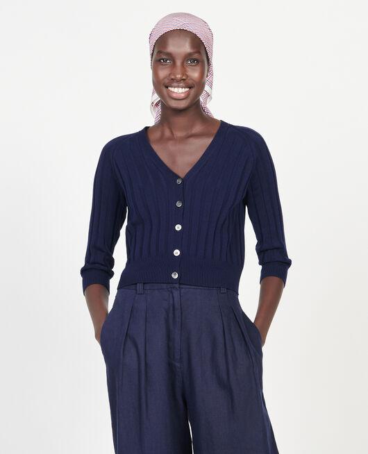 Cardigan mit breitem Rippstrick MARITIME BLUE