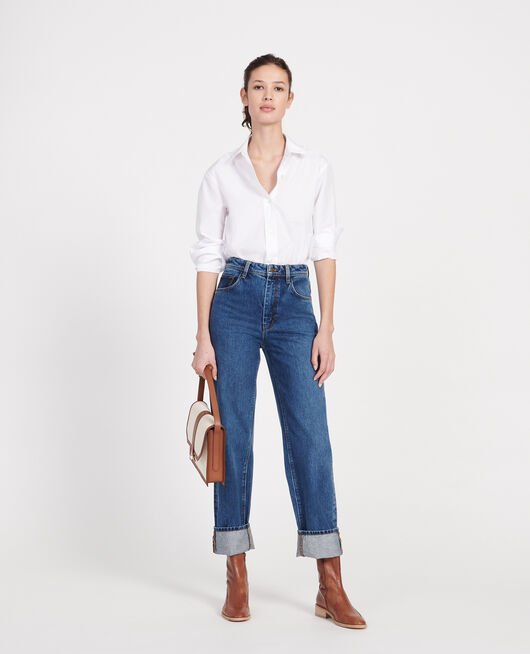Jeans mit hoher Taille und geradem Schnitt DENIM MEDIUM WASH