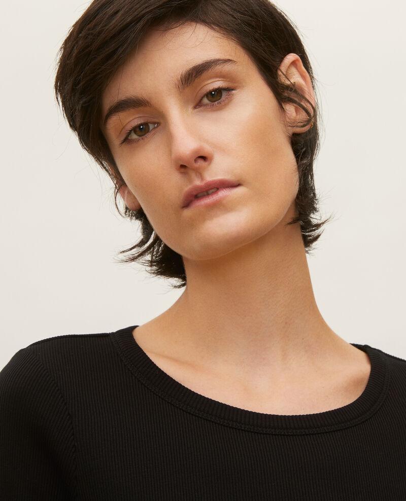 T-Shirt mit feinem Rippstrick aus merzerisierter Baumwolle Black beauty Lasso