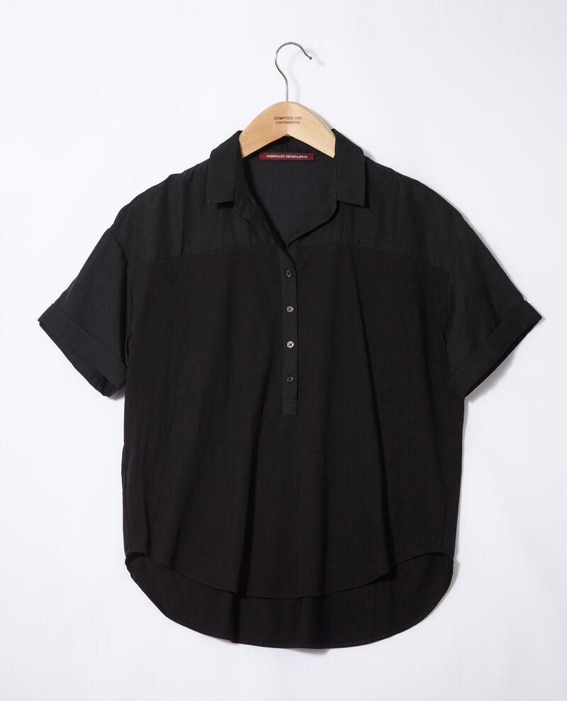 Bimaterial-Bluse Noir Gaite