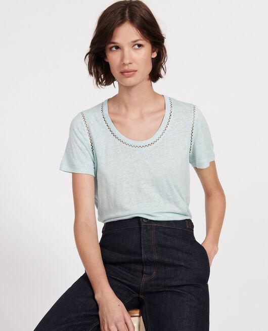 T-Shirt aus Jersey-Leinen BLUE HAZE