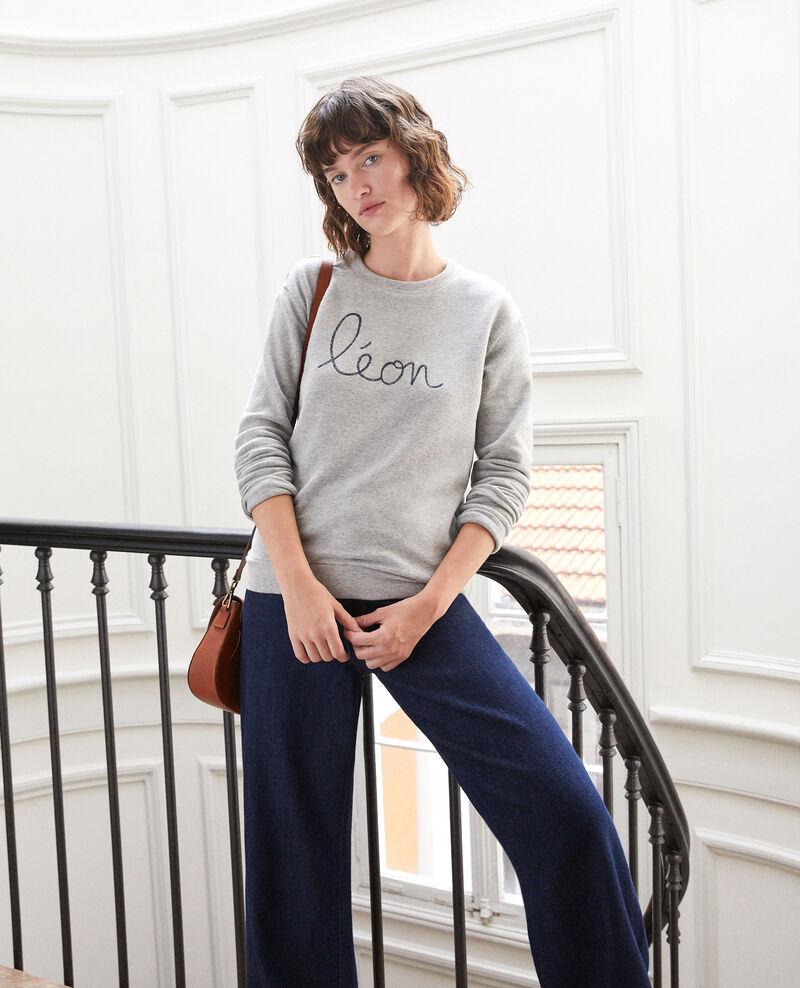 Sweatshirt mit Leon-Stickerei Grau Gleon