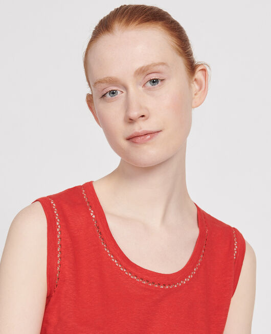 Top aus Leinen FIERY RED