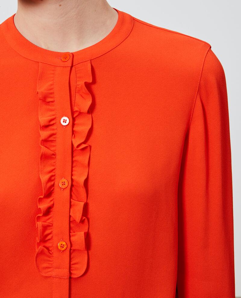 Bluse mit Rüschenbesatz Spicy orange Nemours