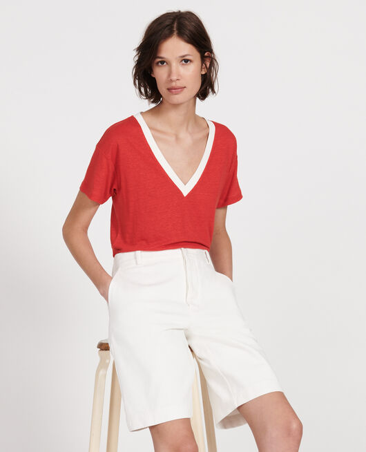 T-Shirt aus Leinen STRIPES FIERY RED GARDENIA