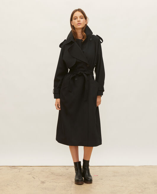 Oversize-Trenchcoat aus fließender Wolle BLACK BEAUTY