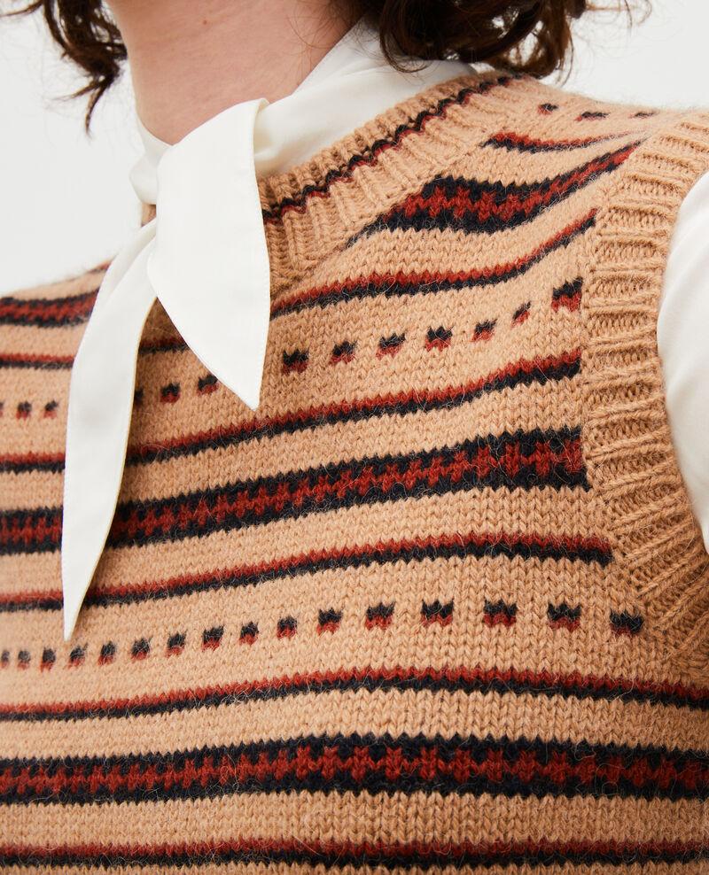 Ärmelloser Jacquard-Pullover aus Alpaka-Wolle Jacquard taupe black brandybrown Moiran