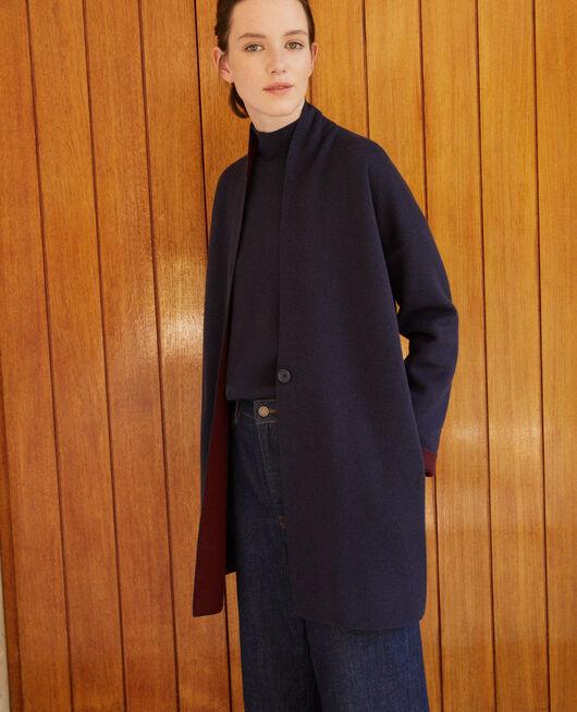 Cardigan aus doppelseitiger Wolle Blau
