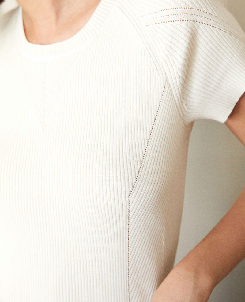 Pullover 100 % Baumwolle Weiß Gildas