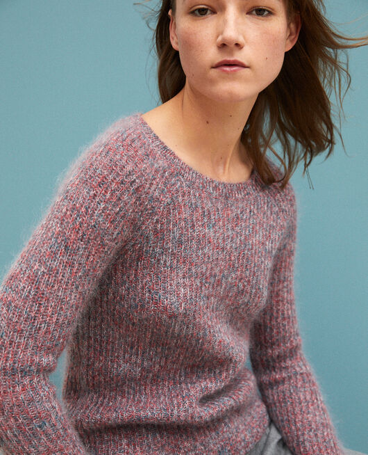 Melierter Pullover aus Mohair POMPEIAN RED/ULTRA GREEN/OFF WHITE