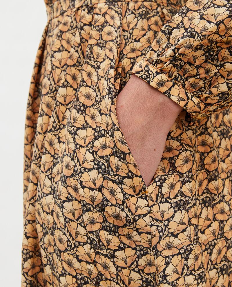 Langes Kleid aus Seide mit Gürtel und V-Ausschnitt Print artdeco lemoncurry Marieuxa
