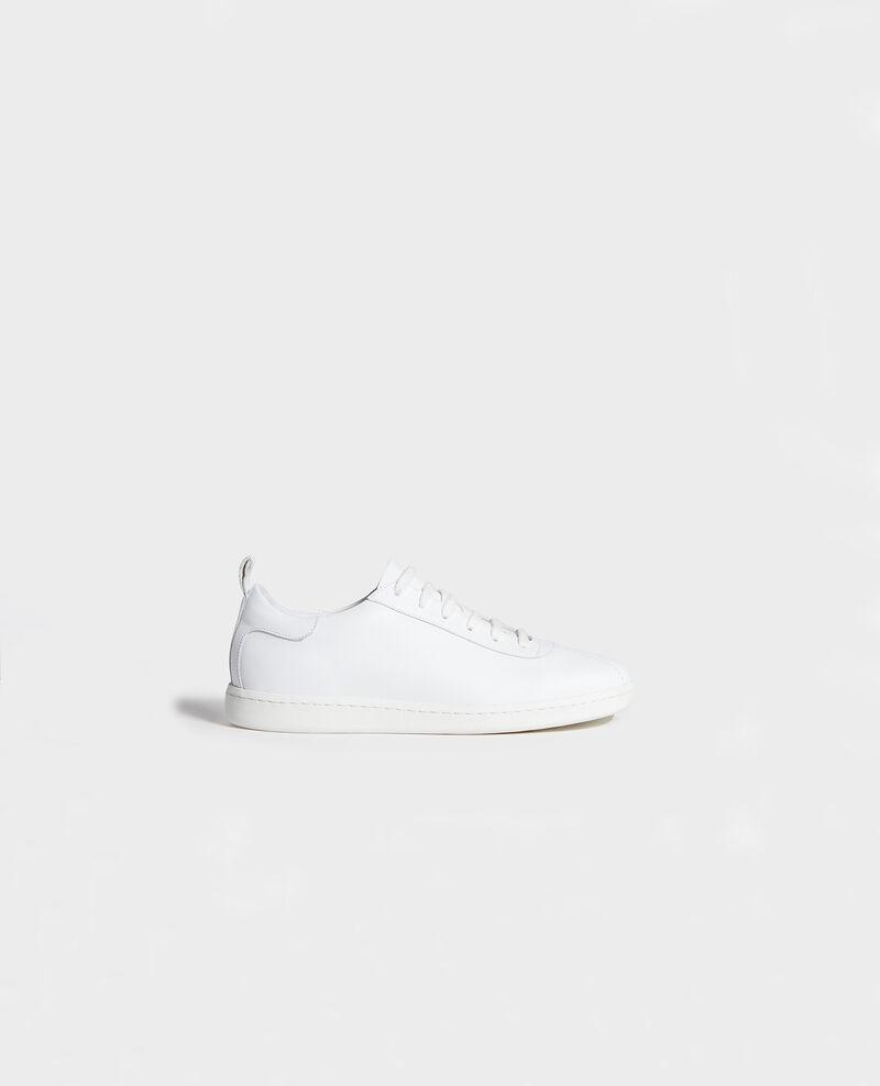 Ledersneaker mit Schnürsenkeln Optical white Lead