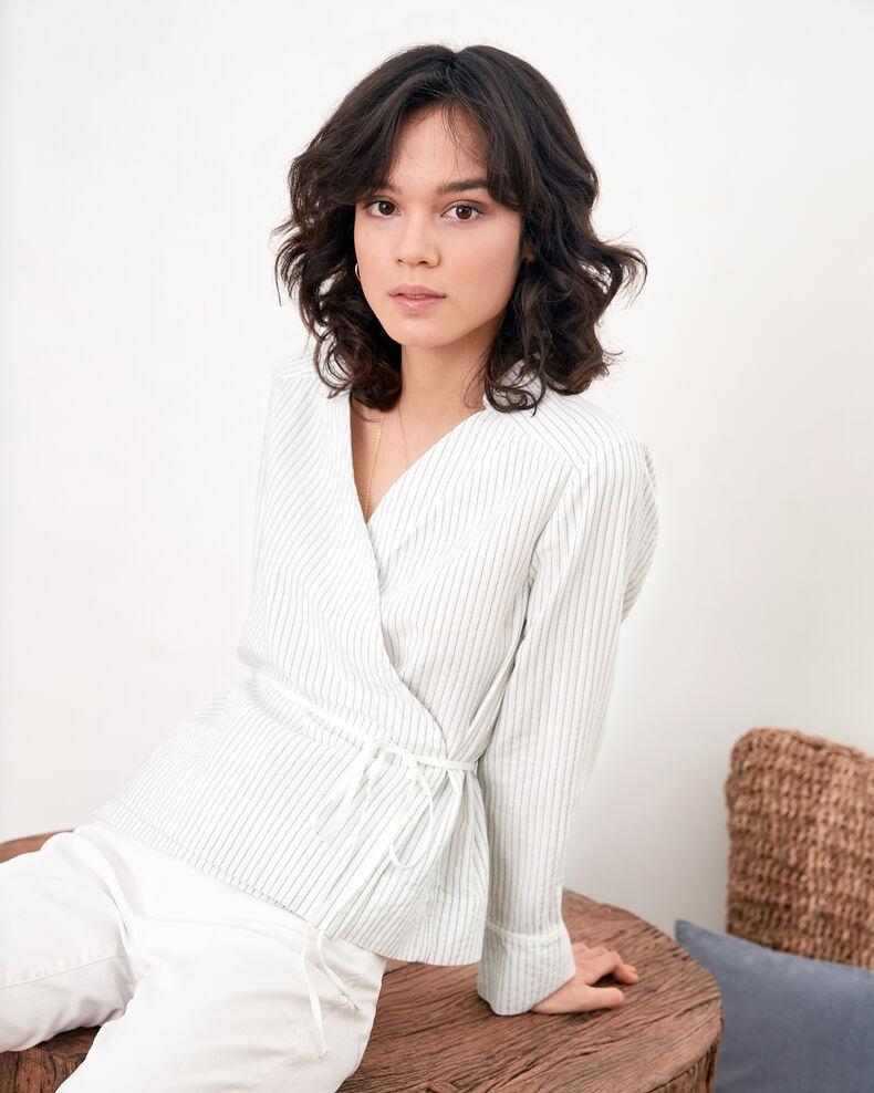 Cache-cœur-Bluse Off white/navy stripes Figaro