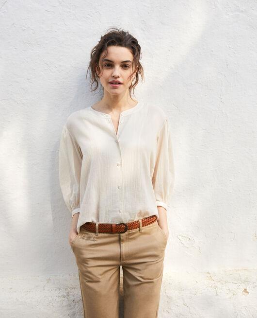 Bluse mit Rundhalsausschnitt LINEN/WHITE