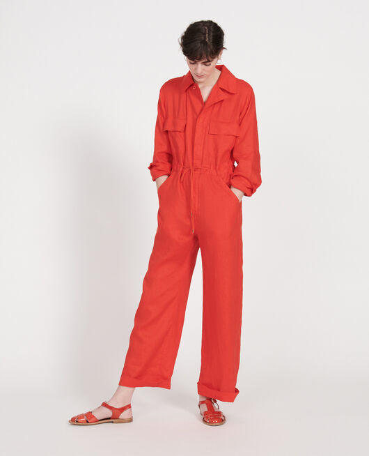Jumpsuit aus Leinen FIERY RED