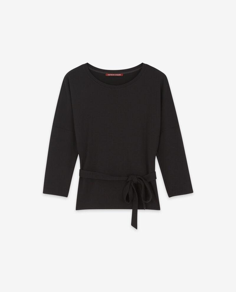 Sweater mit Wollgürtel Noir Debongout