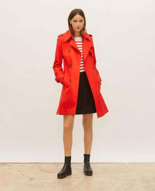 Ikonischer Trenchcoat aus Baumwolle FIERY RED