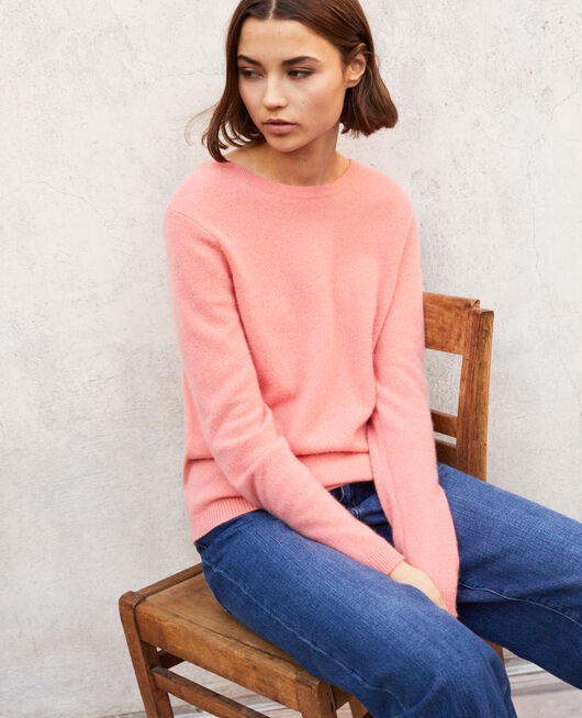 Pullover mit Rundhalsausschnitt aus Mohair SALMON PINK