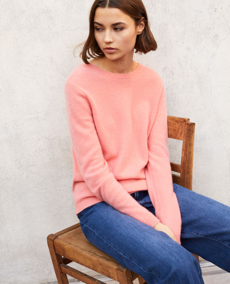 Pullover mit Rundhalsausschnitt aus Mohair Salmon pink Ixela