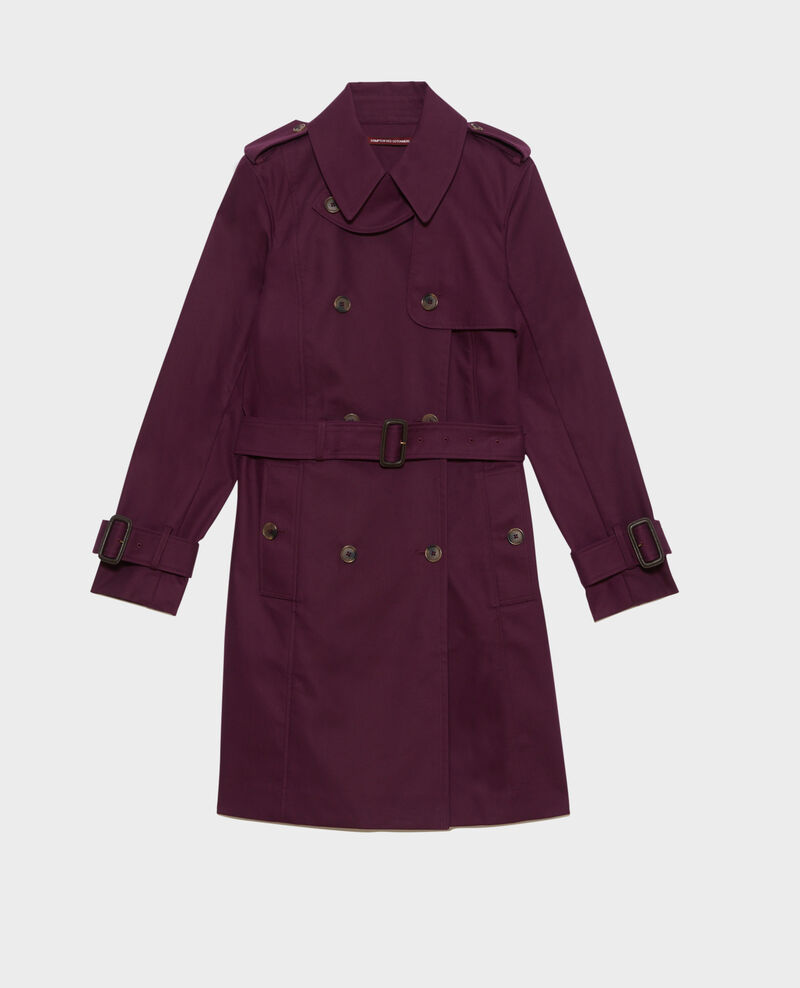 CATHERINE - Mittellanger Trenchcoat aus Baumwolle mit Gürtel Potent purple Mambert