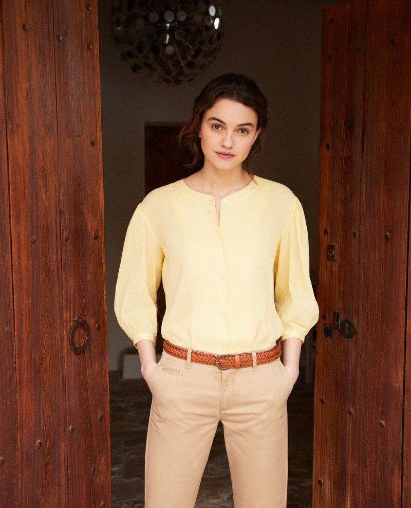 Bluse mit Rundhalsausschnitt Spice yellow Idalia