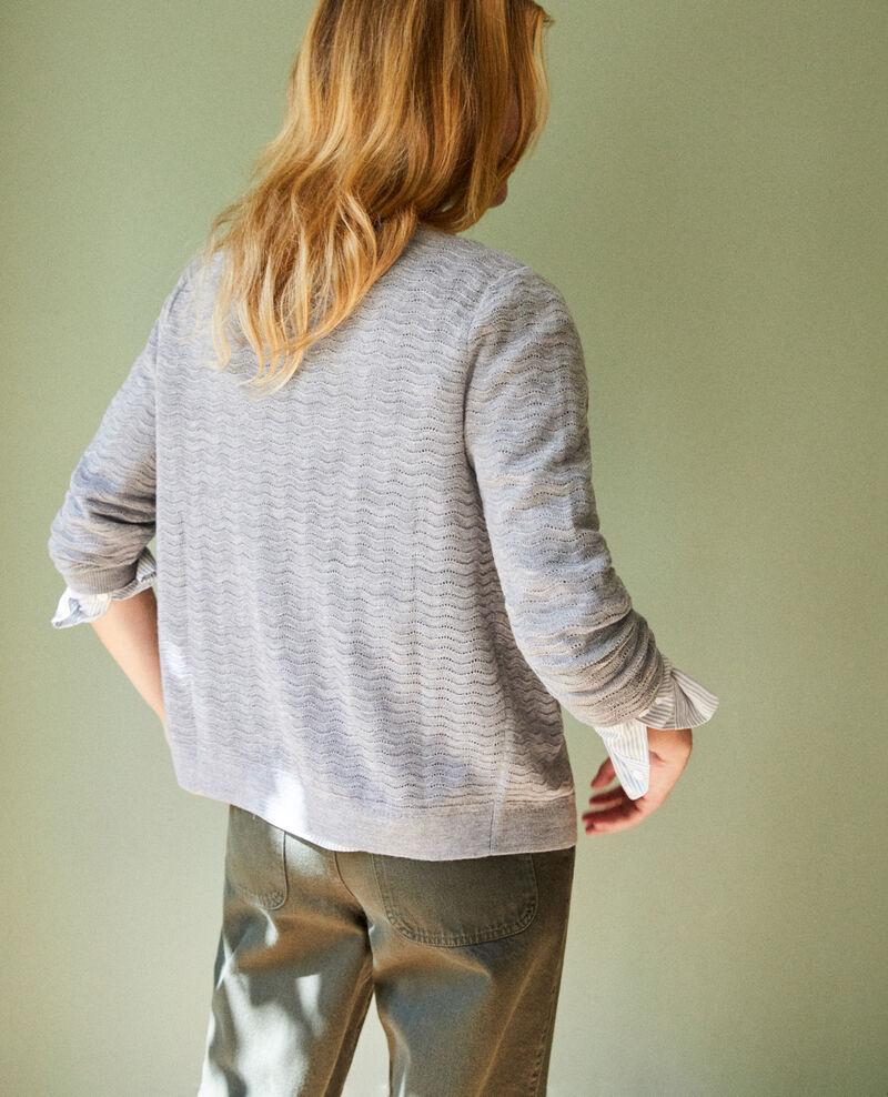 Woll-Cardigan aus Zierstrick Medium grey Jemuel