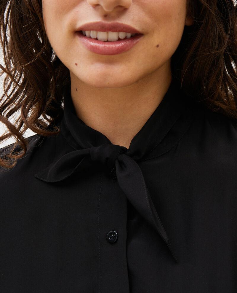Seidenbluse mit langen Ärmeln und geknüpftem Kragen Black beauty Margueray
