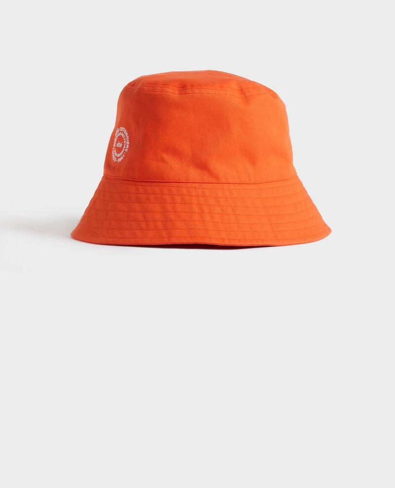 Unifarbener, bestickter Bob aus Baumwolle Spicy orange Nook