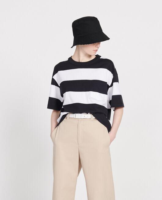 Gestreiftes Oversize T-Shirt STR OPTICALWHITE BLACK