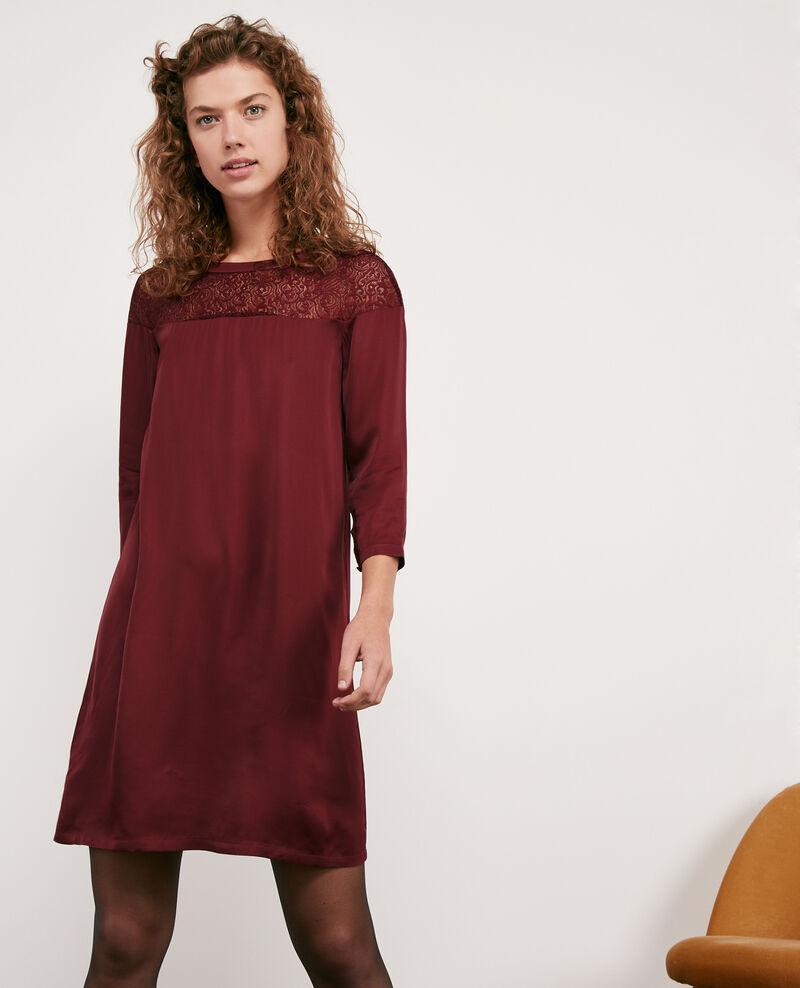 Kleid aus Satin und Spitze Burgundy Datillon
