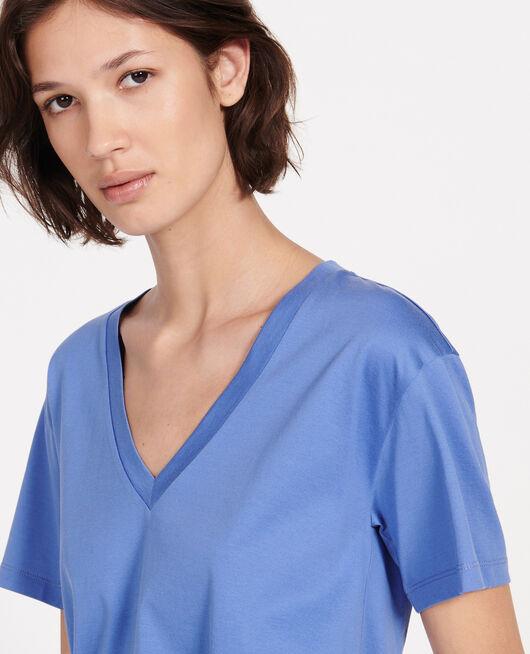 Kurzärmeliges T-Shirt aus Baumwolle mit V-Ausschnitt AMPARO BLUE