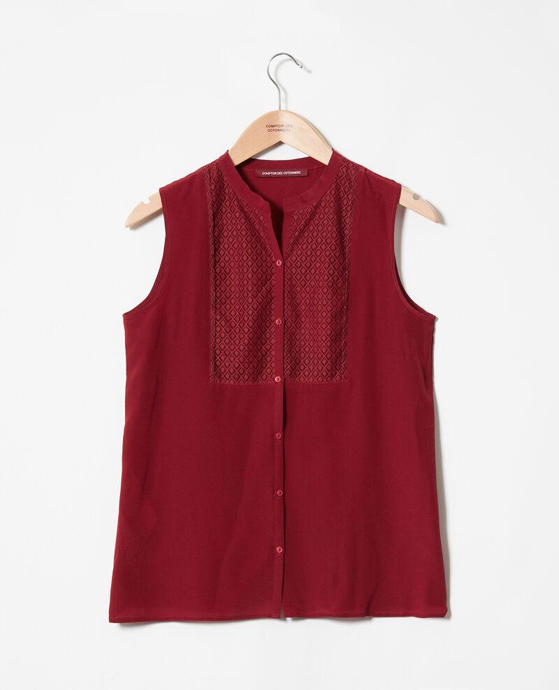 Bluse mit Spitzenplastron aus Seide Cabernet Jandros