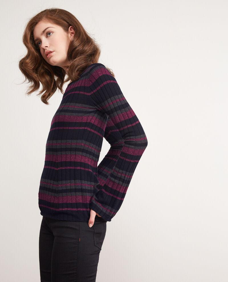 Rippstrickpullover aus Wolle mit Lurexdetails Dark navy/gris fonce/purple Diademe