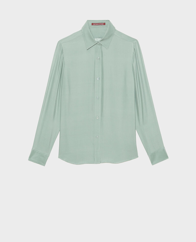 Langärmeliges, maskulines Seidenhemd Chinois green Moriges