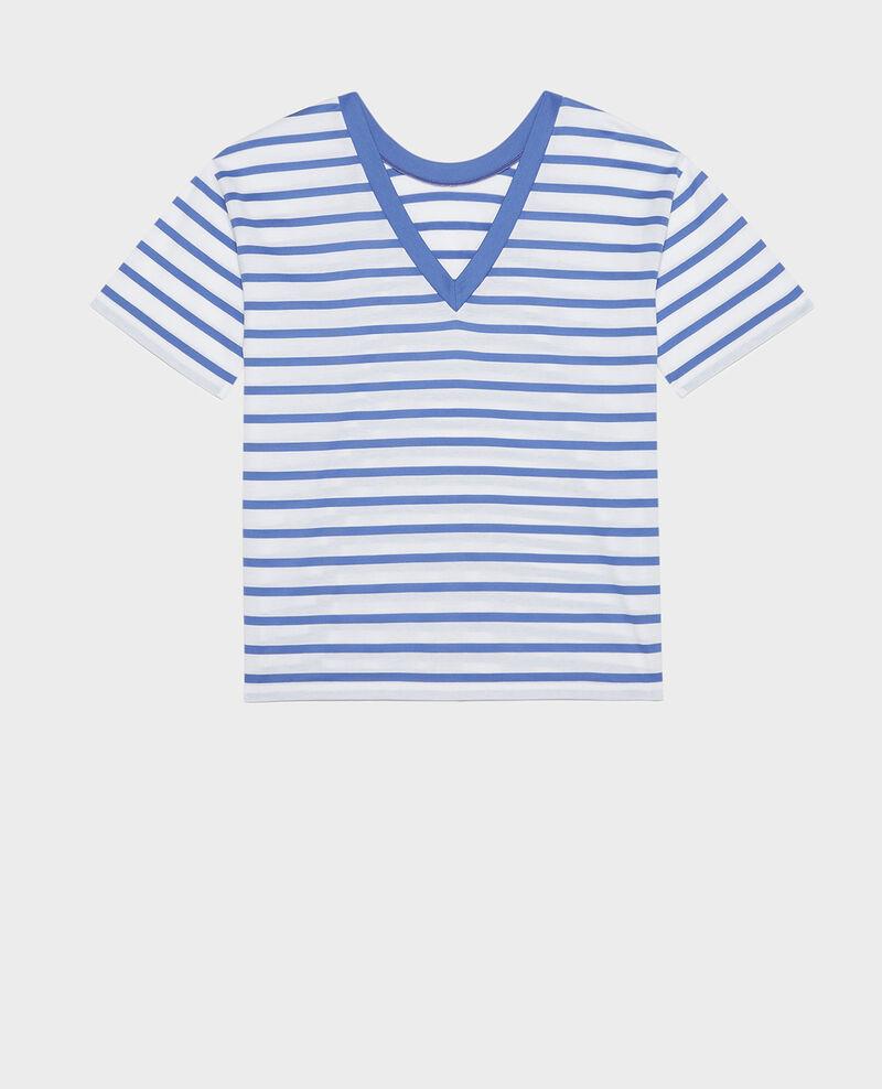 T-Shirt aus ägyptischer Baumwolle Stripes optical white amparo blue Lisou