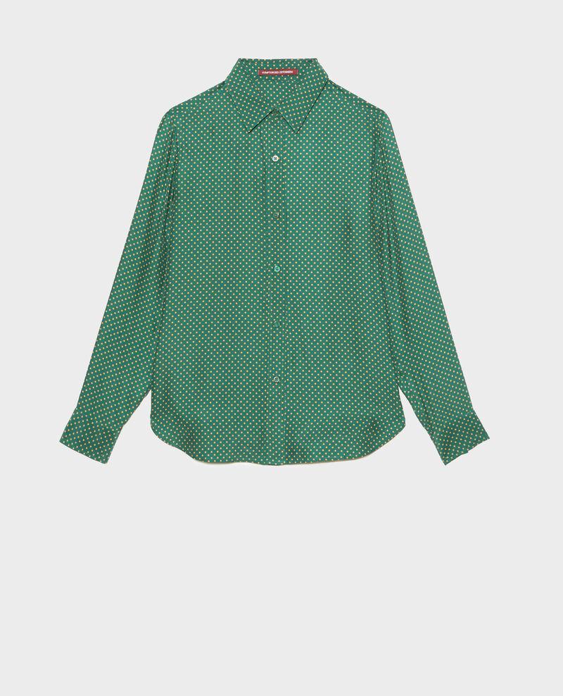 Langärmeliges, maskulines Seidenhemd Little pois dark green Morigesa