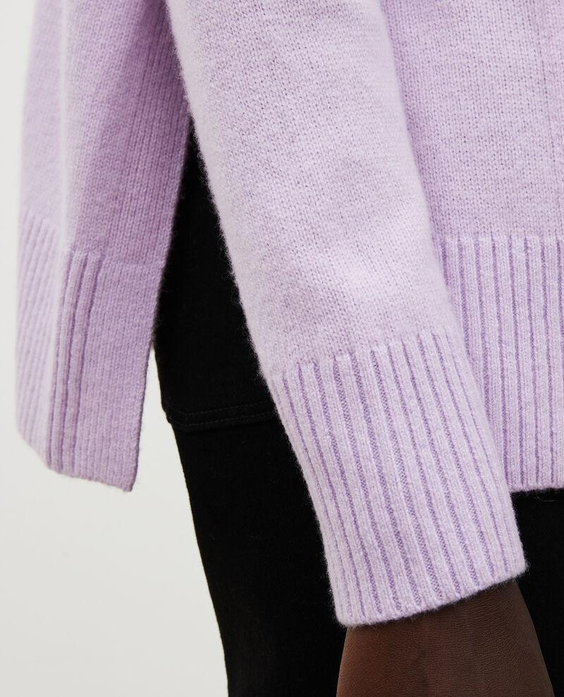 Cardigan aus Kaschmir mit V-Ausschnitt und Seitenschlitz Pastel lilac Moleano