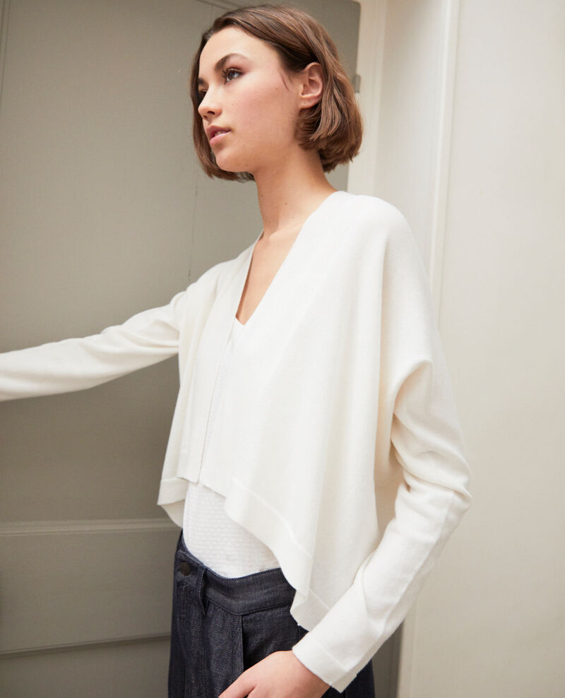 Cardigan court en coton 3D Off white Ijape