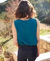 Ärmelloses Top aus Seide Turquoise Icon