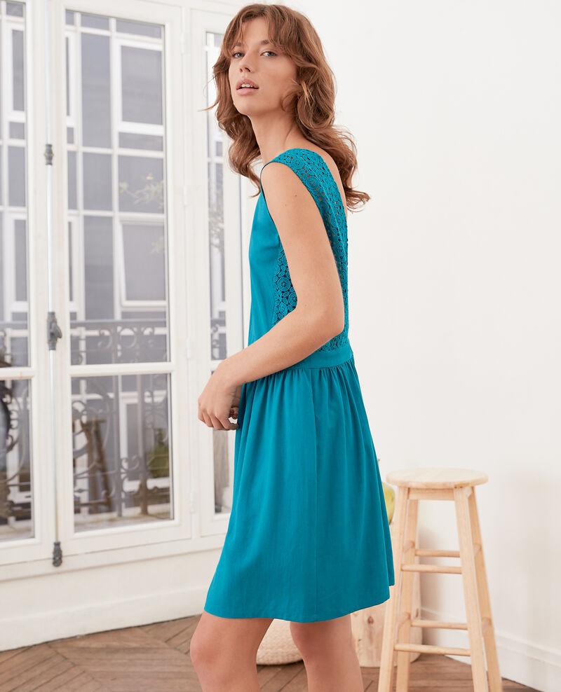 Kleid mit tiefem V-Ausschnitt im Rücken aus Spitze Pacific green Farseille