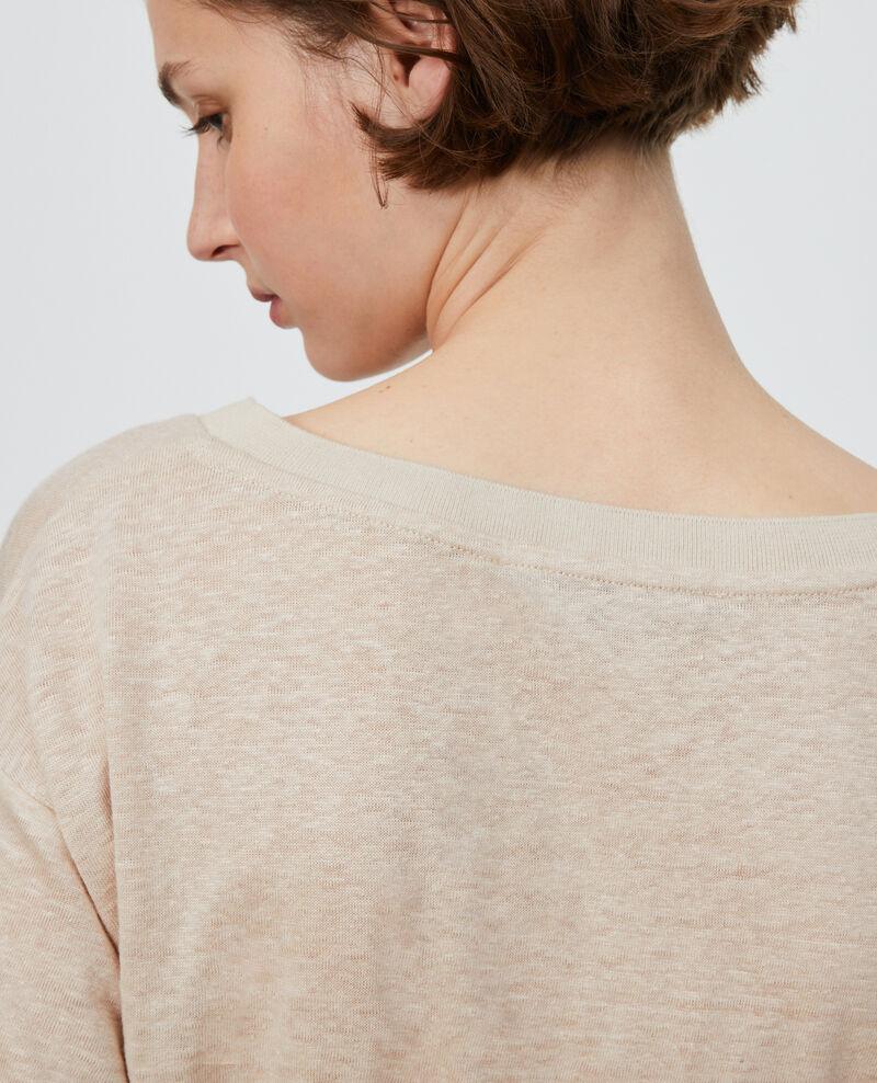 Shirt mit V-Ausschnitt aus Leinen Oxford tan Locmelar
